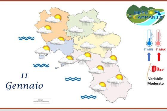Nuvoloso oggi in Campania, fra piogge e schiarite