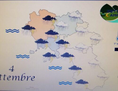Irregolarmente nuvoloso e temporali