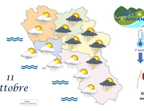 cielo irregolarmente nuvoloso e precipitazioni moderate